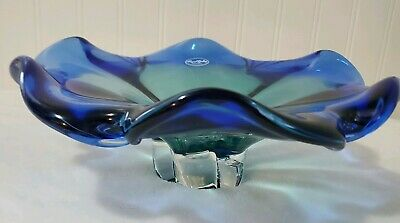 Vtg ROYAL ART GALLERY GLASS POLAND Hand Blown PEDESTAL BOWL COBALT BLUE & GREEN