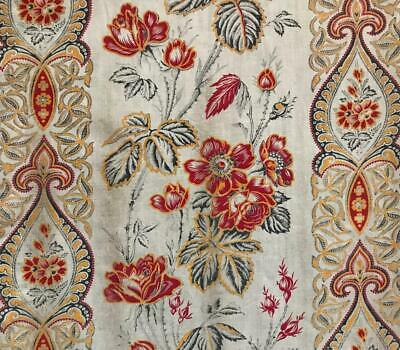 BEAUTIFUL MID 19th CENTURY FRENCH LINEN COTTON INDIENNE ROSES POPPIES 412