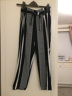Girls River Island Black and White Strip Trousers Age 9