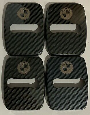 BMW Stainless Steel Door Lock Covers CARBON Fibre Style New In !!