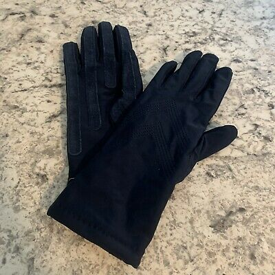 ARIS Navy Blue Spandex Leather Gloves Size OS Suede Leather Grips Worn1x