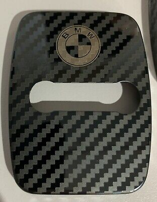 2 X BMW Stainless Steel Door Lock Covers CARBON Fibre Style NEW IN !!