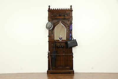 French Gothic Antique Carved Oak Hall Stand, Iron Hooks, Beveled Mirror #32186