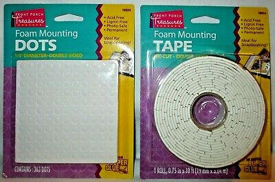 Front Porch Treasures FOAM MOUNTING TAPE 10 ft Roll & 363 DOTS