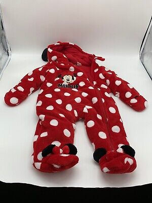 Minnie Mouse Polka Dot Hoodie Jumpsuit Suit One Piece Fleece Pajama Baby Size 9M
