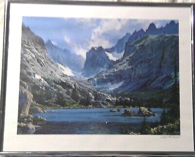 """Wildlife Art Print /""""The Duel/"""" Signed Numbered Limited Edition elk mountain lion"""