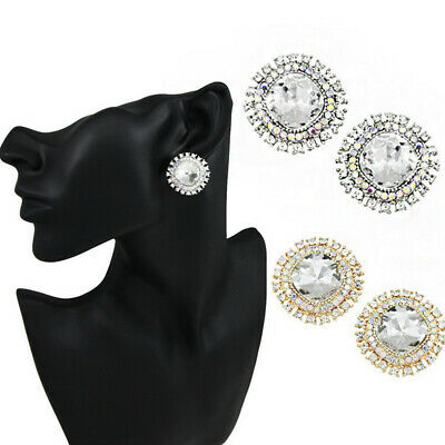 18K Gold Plated Crystal Sunflower Clip On Beautiful Earrings Women Jewelry Gifts