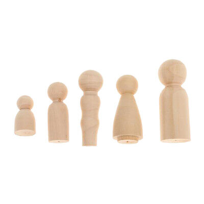 50PCS Wood Peg Doll Wood Little People Family Group of 10 Kids Toys Craft