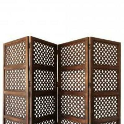Decorative Four Panel Mango Wood Hinged Room Divider with Circular Cutout Design
