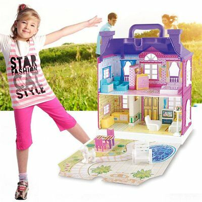 Doll House With Furniture Miniature House Dollhouse Assembling Toys For Kid u7