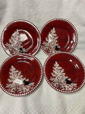 222 Fifth Northwood Cottage Christmas Appetizer Plates 4 Pieces