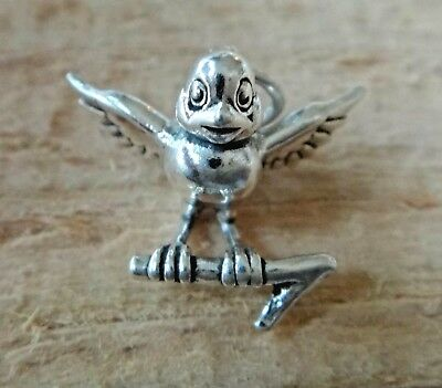 30 Bird on Branch Charms Sparrow or Swallow Charms Antique Silver 39x10 2088