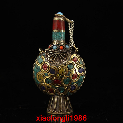 old China antique Pure copper Mosaic gem Snuff bottle