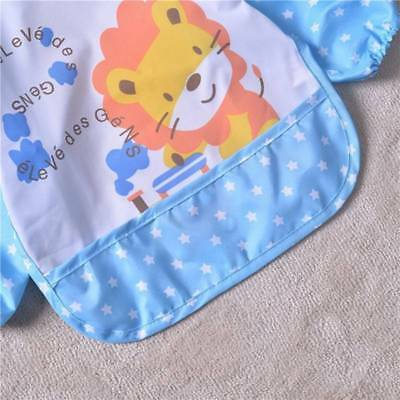 Cute Waterproof Long Sleeved Bib Baby Feeding Painting Clothes Apron Child ~