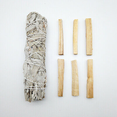 "6 Palo Santo Wood & 7"" White Sage Smudge Sticks: Cleansing Negativity Removal"