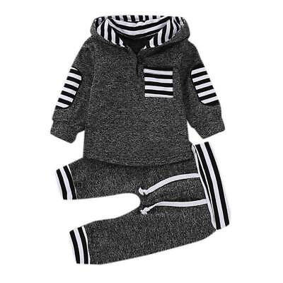 Kids Boys Girls Striped Tracksuit Set Hooded Hoodie Tops + Long Trousers Outfits