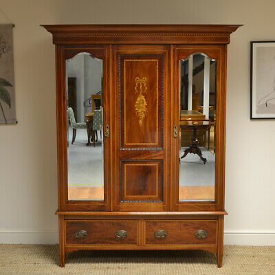 Quality Victorian Mahogany Inlaid Antique Double Wardrobe