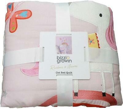 Bizzi Growin RAINBOW AND UNICORNS QUILT Baby Toddler Nursery Bedding BN
