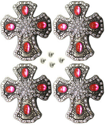 Lot of 4 Conchos Rhinestone Western Horse Saddle Bridle Tack Blue Cross CO393