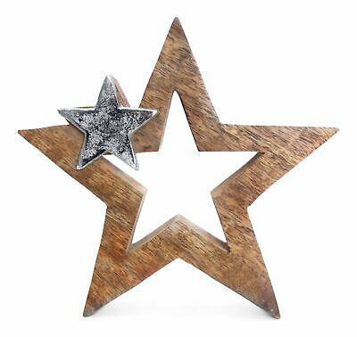 20 cm Wood/Metal Star Christmas Decoration Slight Imperfections