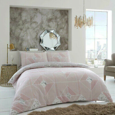 Harmony Marble Blush Pink Double Duvet Cover Quilt Bedding Set Pillow Cases New