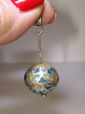 Antique Arts & Crafts Sterling Enamel Inlay Ball Pendant/Fob! Artisan Crafted