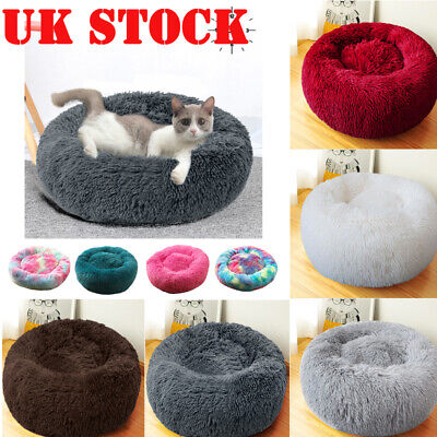 Pet Dog Cat Calming Bed Warm Plush Round Nest Comfy Puppy Sleeping Cave Kennel