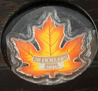 **2016**Canada's Colourful Maple Leaf, RCM Proof Silver $20 Coin