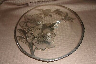 Floral Sterling Silver Overlay Glass Footed Cake Plate