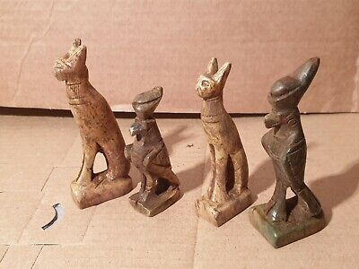 Scarce Antique Ancient Egyptian 4 Statues God Bastet Horus Cat Falcon 1730BC