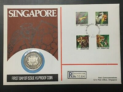 1973 Singapore $5 Dollar Silver Proof & FDC Cover Set Lot#B523 Hutt 99 #130/300