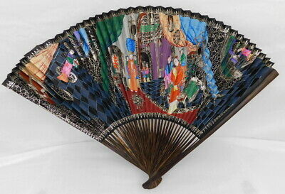 Antique Chinese Hand Painted Scenic Paper Fan Calligraphy Qing Dynasty