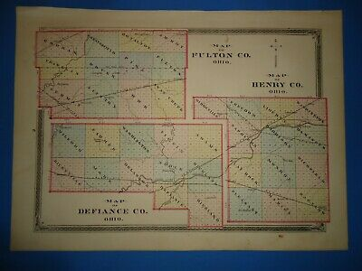 Vintage 1875 FULTON  HENRY  DEFIANCE COUNTY OHIO MAP Antique Early Americana