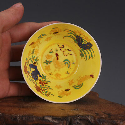 MING CHENGHUA painted gold chicken China old antique Porcelain CUP BOWL yellow
