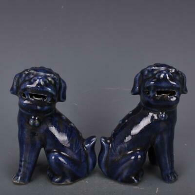 Chinese Old Pair Sacrificial Blue Glaze Porcelain Foo Dogs Statues