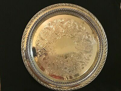 Wm. Rogers And Son Vintage Spring Flower Silver Plated Tray/Platter