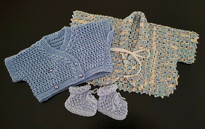 TWO x VINTAGE BLUE 'HUG ME TIGHT' JACKETS & 1 x BOOTIES BABY BOY / REBORN DOLL