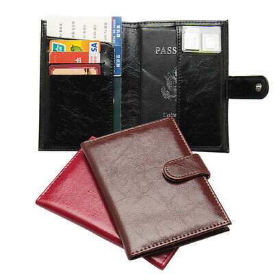 Business Leather Passport Holder Oil Wax Skin Book Buckle Retro Card Package