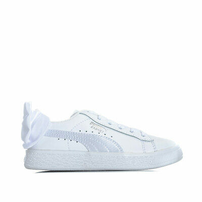 Children Girls Puma Basket Bow Trainers In White- Elasticated Ribbon Laces- Bow