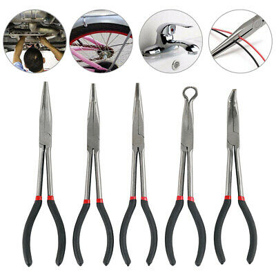 5Pcs 11'' Long Needle Nose Pliers Precision Wire Pliers Mechanics Repair Tool