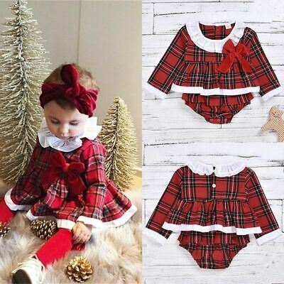 Newborn Toddler Baby Girl Christmas Party Romper Dress Jumpsuit Bodysuit Outfits