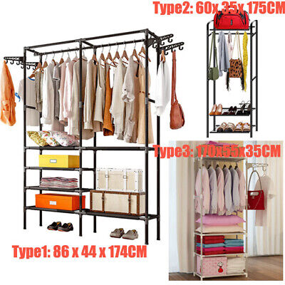 Garment Shoes Rack Double Clothes CoatRail Stand Hanging Hook Display Heavy Duty