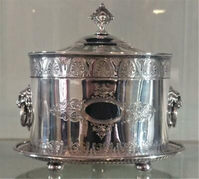 Superb Antique William & George Sissons Silver Plated Biscuit Box C 1855+