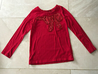 Girls Red Long Sleeved Top With Sequin Bow 6 Years Next