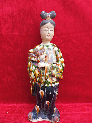 Hermosa, Antiguo Figuras de Cerámica __ Honor con Flores __ China ___ 47cm __