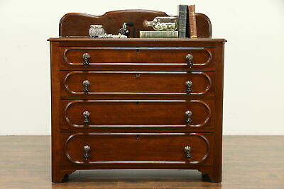 Victorian Antique 1880 Walnut Chest or Dresser, Race Track, Drop Pulls #32471
