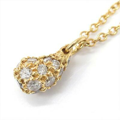 Authentic TIFFANY&CO Teardrop necklace 18KYG Yellow Gold Diamond Used Vintage