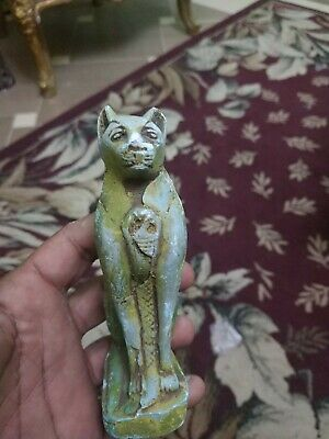 Antique Statue Rare Ancient Egyptian Pharaonic BASTET STATUS Ubaste Cat green BC