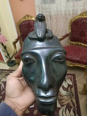 Antique Statue Rare Ancient Egyptian Pharaonic Akhenaten mask black  bc