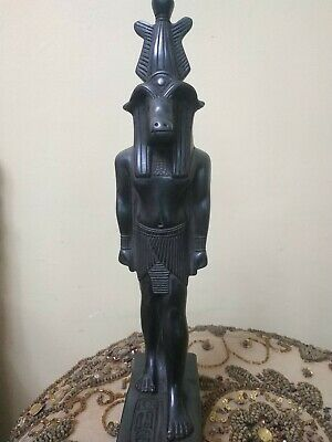 Rare Antique Ancient  Egyptian Statue Harsaphes Stone Black Bc 32 Cm